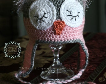 Crochet Baby Owl Hat- Blue / Pink and Gray Owl Hat-Photography Prop -Baby Shower gift