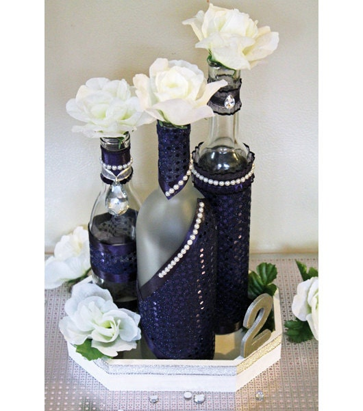 Unavailable listing on etsy for Wine bottles decorated with flowers
