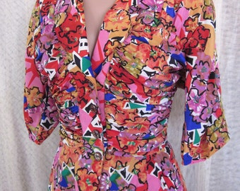 FENDI 365 VINTAGE Blouse // fits XS-S //  Peplum Epaulets fancy buttons // Ruched front bodice // silk floral abstract