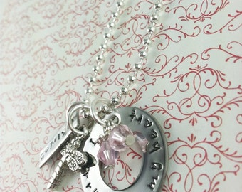 I carry you in my heart hand stamped necklace