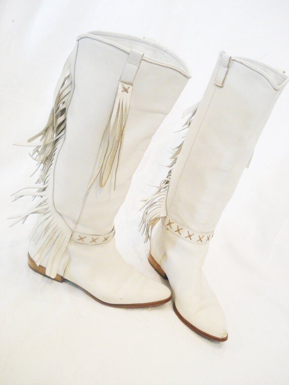 womens size 8 vintage cowboy boots white vintage by