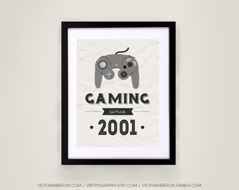 Gaming Since... - 11x17 typography print - custom print, retro style art, vintage print, inspirational, gaming gift, gamer, christmas