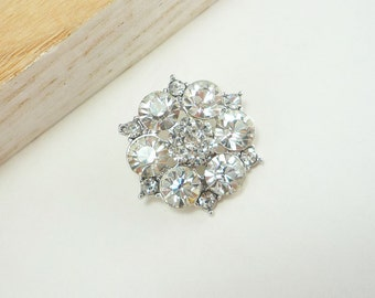 Round Cluster Rhinestone Button with Large Faceted Crystals (25mm, 1pc)