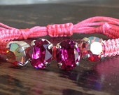 Calypso coral pink friendship bracelet with Swarovski rhinestones in shades of pink from Le Trend Bijoux