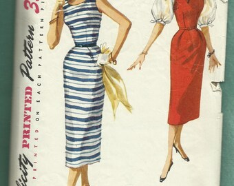 Vintage 1955 Simplicity 1085 Rockabilly Wiggle Dress or Jumper and Ultra Puff Sleeve Blouse Size 12