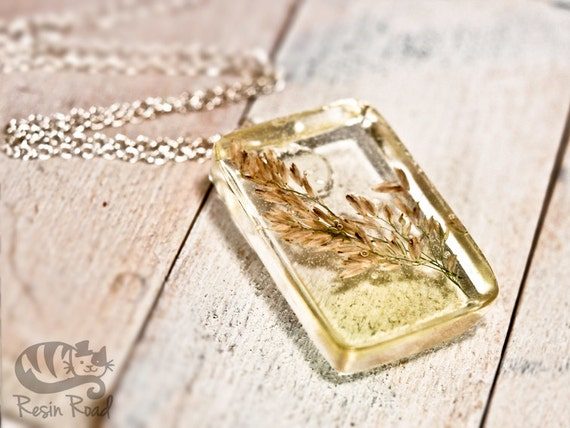 Pale Yellow Beach Grass Pendant. Handmade Irish Resin Necklace. Spring/Summer Botanical Gift.