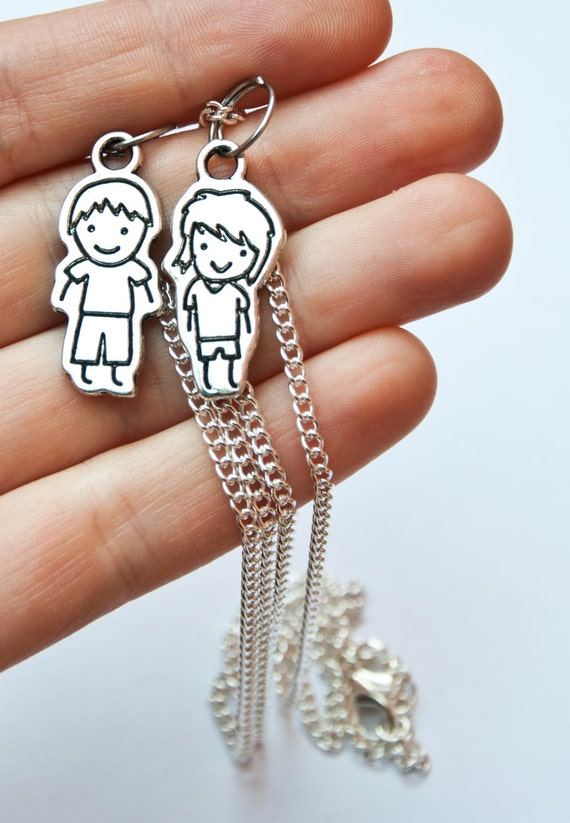 boyfriend girlfriend necklaces with cute little boy and