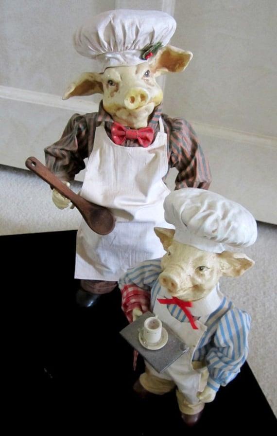 "Vintage Pig Figures - Vintage Londonshire Pig ""Earl of Hamlet"" Possible Dreams 1988 - Folkraft Pig Chef and Helper Retired"