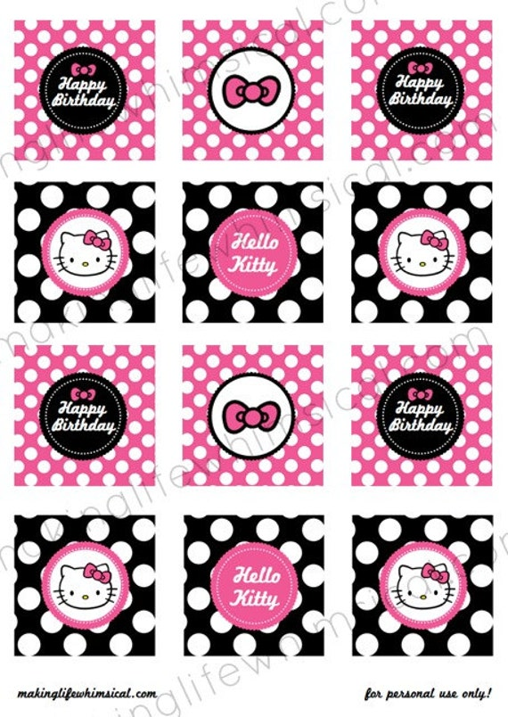 Unavailable listing on etsy for Hello kitty cupcake topper template