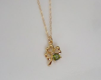 Tiny Gold Four Leaf Clover Necklace- Good Luck Necklace- 14k Gold Filled Chain