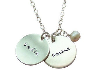 Sterling Silver Name Necklace - Necklace with Childrens Names - Child Name Necklace - Personalized Mothers Necklace - Hip Mom Jewelry