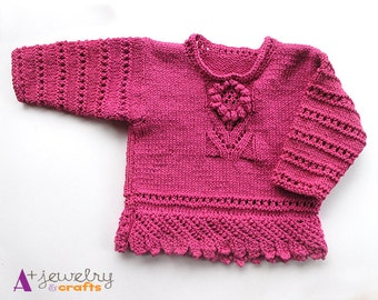 Pink sweater for toddler, cotton, hand knit, flowers, fuschia, bright, girl,  children\u0027s sweaters, bright pink