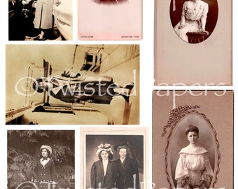 VINTAGE PHOTOS & Cabinet Cards of WOMEN from the 1880s-early 1900s, Digital Collage Sheet, 13-704