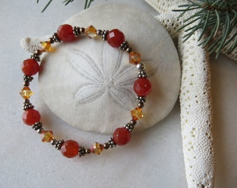 Faceted carnelian stretch bracelet with Swarovski crystal and oxidized sterling silver