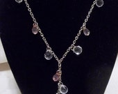 Vintage Necklace of Pink and Clear Faceted Lucite Globules