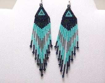 Southwestern Native American Beaded Earrings Made with Tiny Blue Iris, Turquoise Colored Glass Beads with Sterling Silver Ear wires