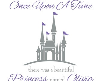 Baby Girl Wall Decal - Nursery Name Decal - Baby Girl Nursery & Girls Bedroom Wall Decal - Once Upon A Time Princess Wall Decal GN040
