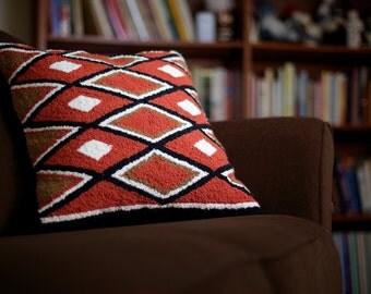 "Hand hooked Navajo pillow, ""Wisdom"""