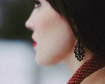 Lace oak leaf earrings