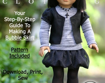 Pixie Faire Liberty Jane Bubble Skirt  Doll Clothes Pattern for 18 inch American Girl Dolls - PDF