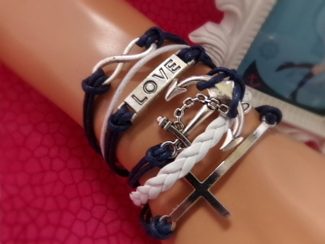 Cross Infinity Love Anchor Bracelet - Navy White Anchor Bracelet - Love Cross Anchor Bracelet, Navy Girlfriend, Sailor Bracelet, Navy Wife - $8.99 USD