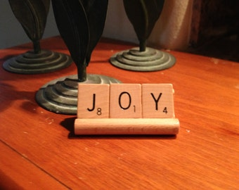 JOY sign, Home Decor, Upcycled, Choose Joy, Office or Desk Decor, Joyful, Gift for Friend, Gift for Mom
