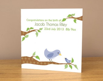 New baby card personalised - congratulations with bird design in blue or pink