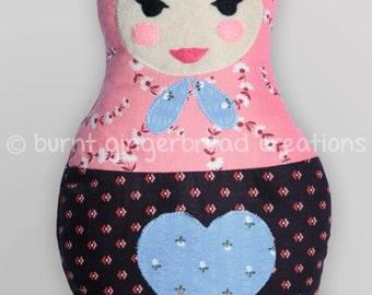 Kvasena - soft cuddly handmade Matryoshka Babushka Russian Doll