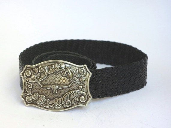 kangaroo leather plaited belt with a longhorn buckle from