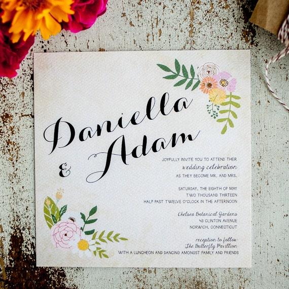 Floral Wedding Invitation Rustic Wedding Invitation - The Daniella - boho wedding invitation floral swag calligraphy flowers vintage wedding