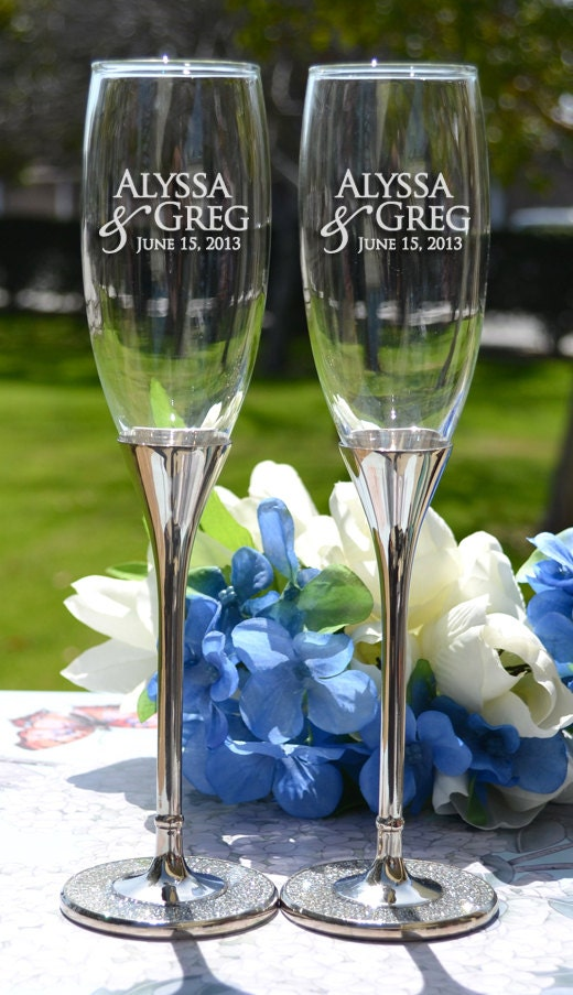 Personalized Glitter Champagne Flutes Set Of Two Custom