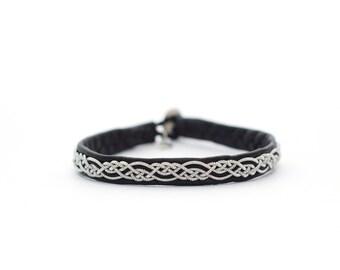Black sami bracelet, swedish bracelet, black leather, metal braid, eco-friendly, sami laponia -Custom size