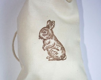 10 5x7 Easter Bunny Muslin Bags, Hand Stamped Easter Favor Bags, Treat Bags, Easter Bunny Bag, Bunny Baby Shower, Easter Gift Bags, Favors