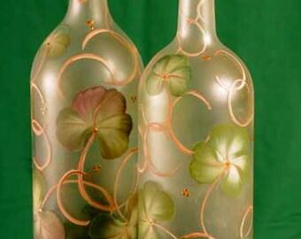 Shamrock Lighted Wine Bottle / Lamp / St Patrick's Day Decor