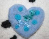 Love Brooch - Needle Felted Heart Brooch