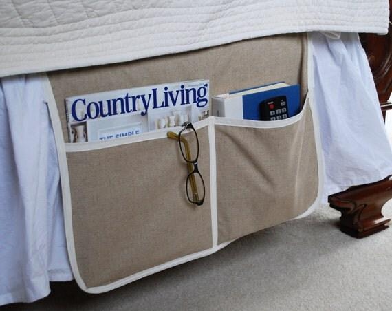 Bedside Storage Caddy Organizer Caddy Natural Linen Book