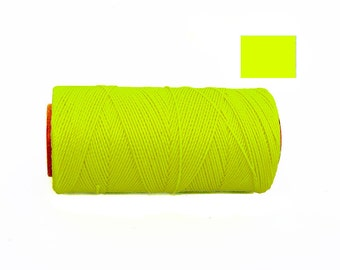 NEON YELLOW Macrame Thread - Waxed Polyester Cord - Waxed Cord - Bracelet Cord - 188 yards Spool