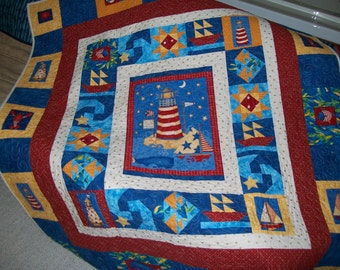 Lighthouse quilt | Etsy : seaside quilt - Adamdwight.com