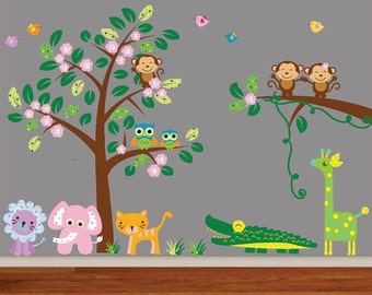 Jungle Tree Fabric Wall Decal Reusable 981