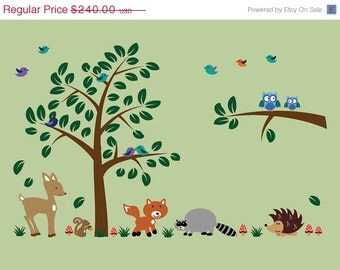 Childrens Jungle Tree Peel and Stick Decal Ecofriendly Fabric Decal Z103C