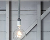 Industrial Lighting - Drop Pendant Pipe Light - Bare Bulb Lamp - IndLights