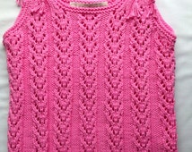 Pink Lace Top, Girls  Lace Tunic Sun Top, Pink Cotton Top,  Hand Knitted Size 3 to 4 years, (4T) Summer Top, Custom Order Only
