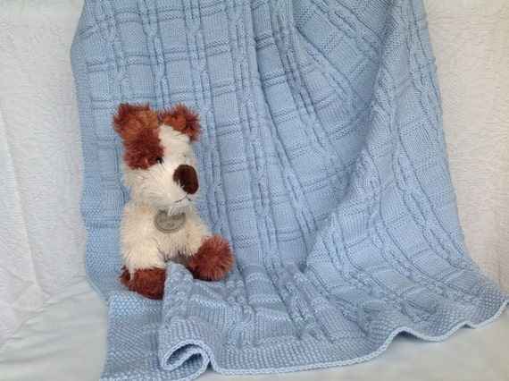 Knitting Pattern Swaddling Blanket : Cable Knit Blanket Blue Swaddle Blanket Cashmere Baby