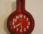 West German Vintage 1970s Red Kitchen Clock