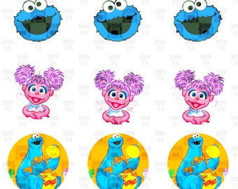 Sesame Street Big Bird Elmo Cookie Monster Abby Cadabby Digital Bottle Cap Images