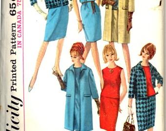 60s Dress Coat Jacket Blouse Skirt Ensemble Simplicity 6197 Bust 34 Pattern Vintage Sewing
