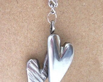 Upcycled Double Heart Necklace Pendant Made From Recycled Repurposed Stainless Steel Metal Perfect For Any Gift