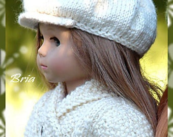 Newsboy Cap, PDF Doll Clothes a trendy newsboy cap knitting pattern designed for American Girl/Boy Dolls by Debonair Designs