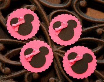 12 Minnie Mouse Die Cut with Hot Pink Bow and Scallop