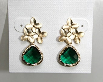 Cherry blossom earrings with emerald green drops